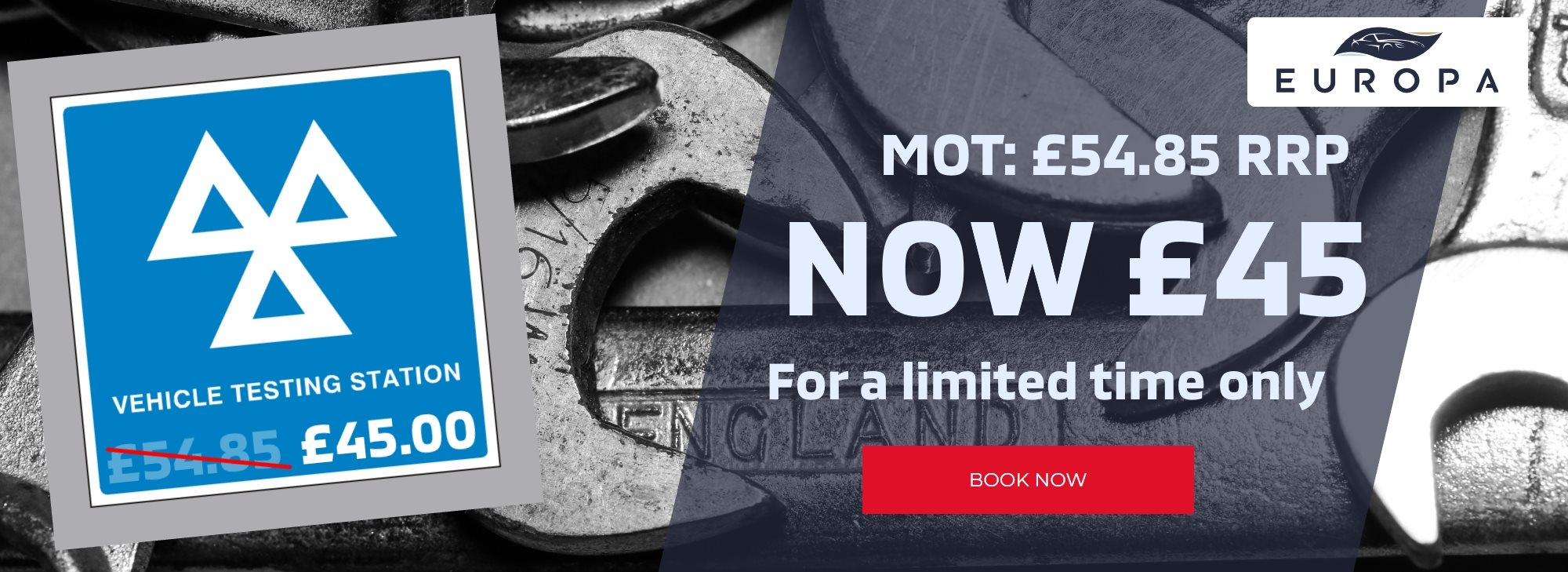 MOT Booking for £45.00 AT Europa Sheffield